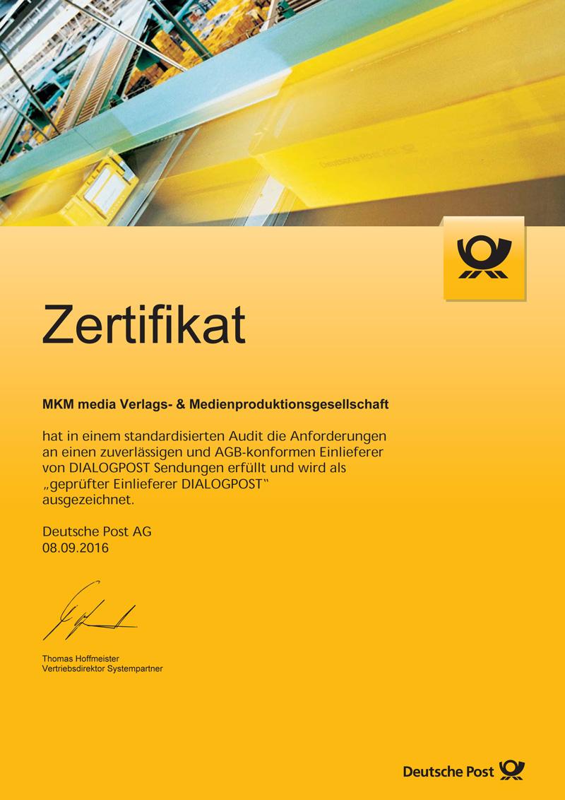"MKM media als ""geprüfter Einlieferer DIALOGPOST"" zertifiziert"