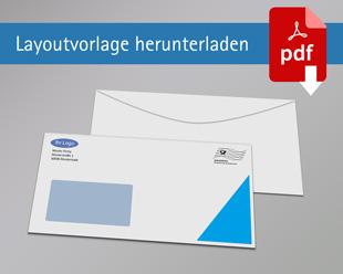 Briefumschlag DIN Lang mit Rand mit Fenster einseitig bedruckt