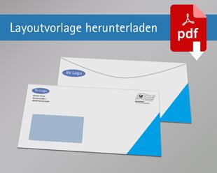 Briefumschlag DIN Lang ohne Rand mit Fenster beidseitig bedruckt