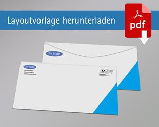 Briefumschlag DIN Lang ohne Rand ohne Fenster beidseitig bedruckt