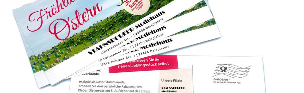 Postkarte mit Aufklebern zu Ostern