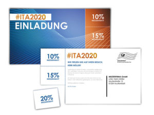 Messeeinladung als Postkarte-Coupon