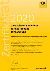 Zertifikat DIALOGPOST 2020