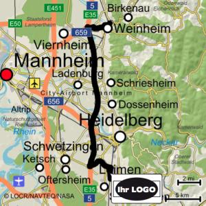 personalisierte Landkarte mit Logo