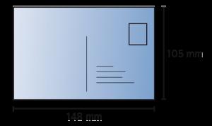 Label-Postkarte A6 Bemaßung